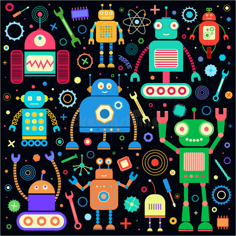 Roboty ustawiający na czerni ilustracja wektor