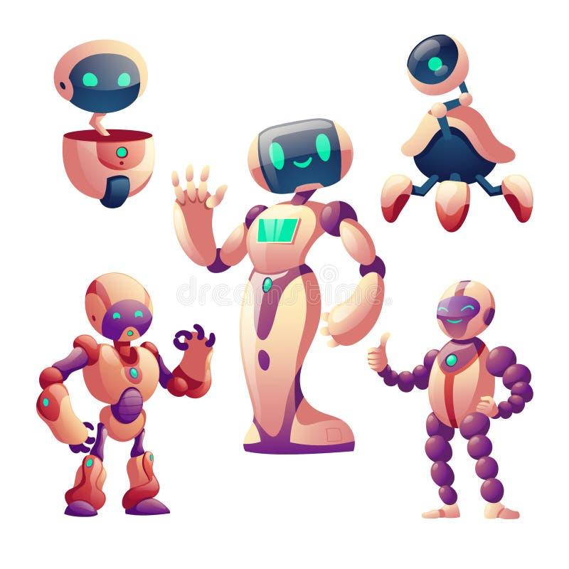 roboty ustawiaj?cy Humanoid cyborgi z twarzą, ciało, ręki royalty ilustracja