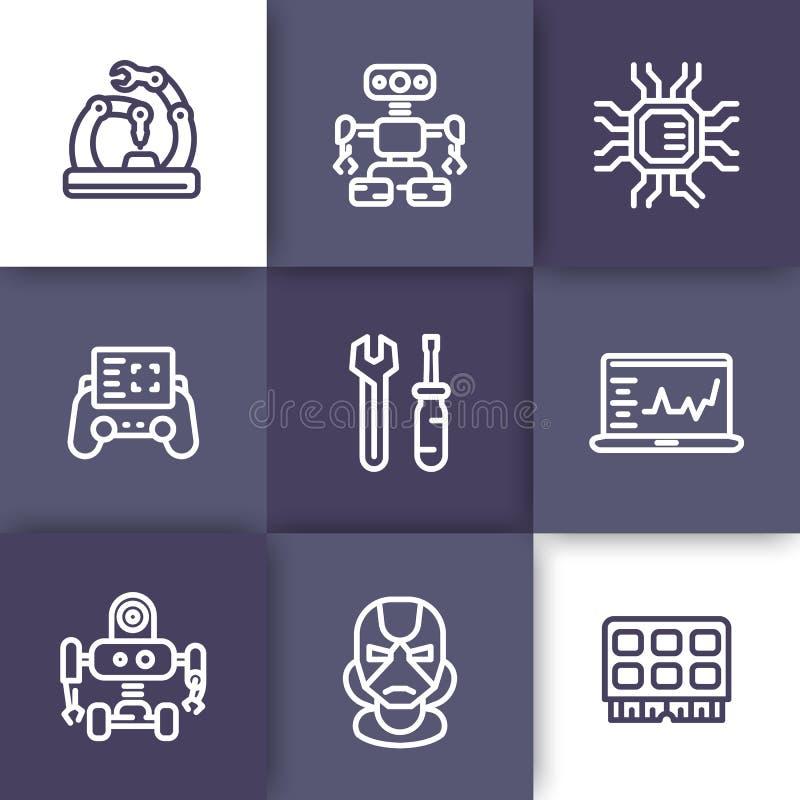 Robotyka, budowa maszyn, ikony, liniowe ilustracja wektor