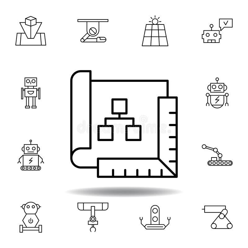 Robotyka planu konturu ikona set robotyki ilustracji ikony znaki, symbole mogą używać dla sieci, logo, mobilny app, UI, UX ilustracji