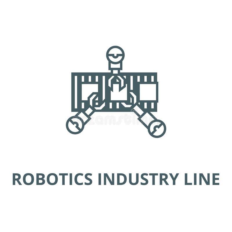 Robotyka przemysłu linii wektoru linii ikona, liniowy pojęcie, konturu znak, symbol ilustracja wektor