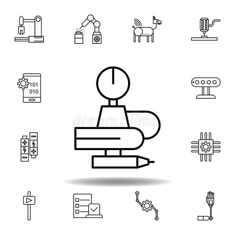 Robotyka robota konturu ikona set robotyki ilustracji ikony znaki, symbole mogą używać dla sieci, logo, mobilny app, UI, UX ilustracja wektor