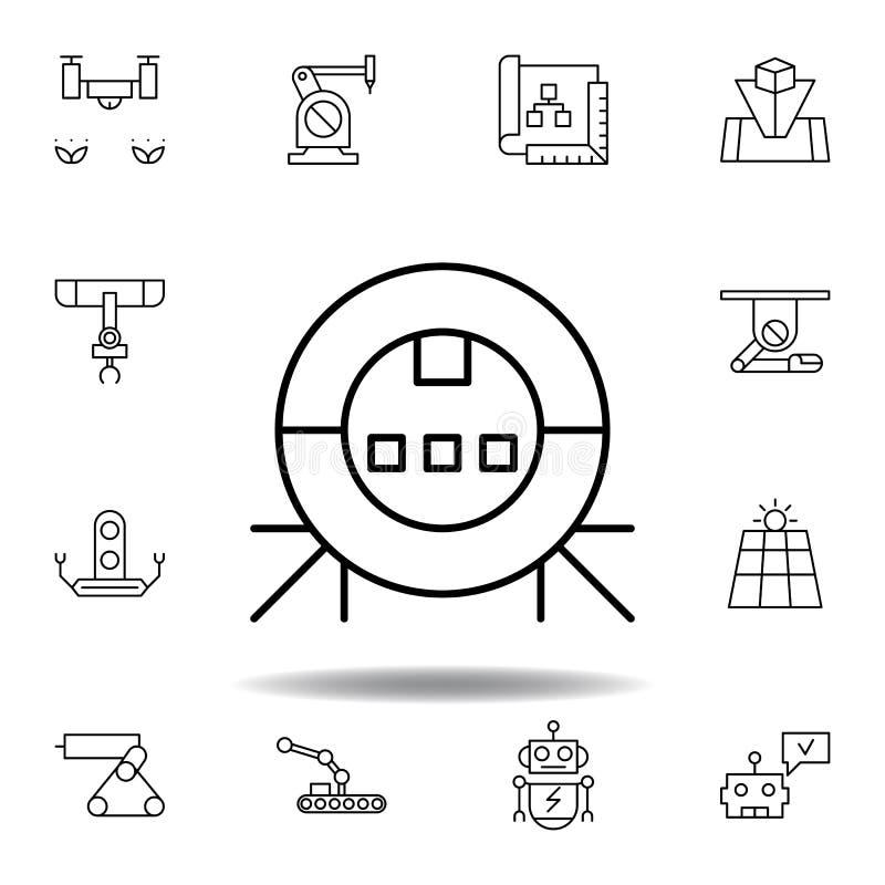 Robotyka robota konturu pr??niowa ikona set robotyki ilustracji ikony znaki, symbole mogą używać dla sieci, logo, mobilny app, UI royalty ilustracja