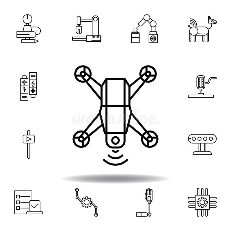 Robotyka trutnia konturu ikona set robotyki ilustracji ikony znaki, symbole mogą używać dla sieci, logo, mobilny app, UI, UX ilustracji