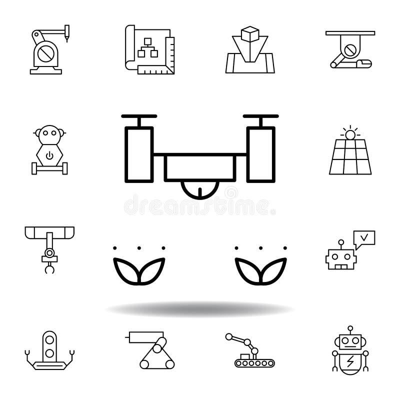 Robotyka trutnia ziele konturu ikona set robotyki ilustracji ikony znaki, symbole mogą używać dla sieci, logo, mobilny app, UI, royalty ilustracja