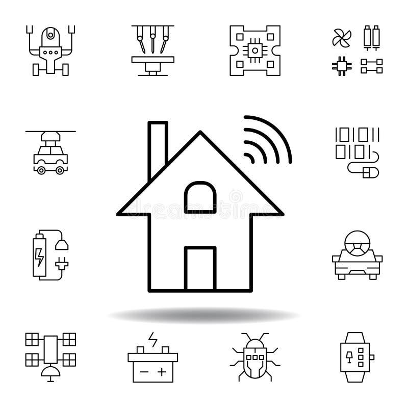 Robotyki dominotics domu fi konturu ikona set robotyki ilustracji ikony znaki, symbole mogą używać dla sieci, logo, wisząca ozdob ilustracja wektor