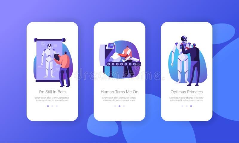Robotyki narzędzia i oprogramowanie nauki inżynierii App Mobilna strona Na Parawanowej Ustalonej rozwój firmie Tworzymy cyborgów ilustracji