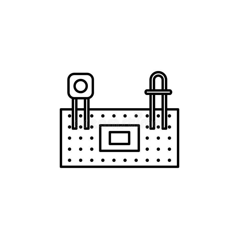 Robotyki protoboard konturu ikona Znaki i symbole mogą używać dla sieci, logo, mobilny app, UI, UX royalty ilustracja