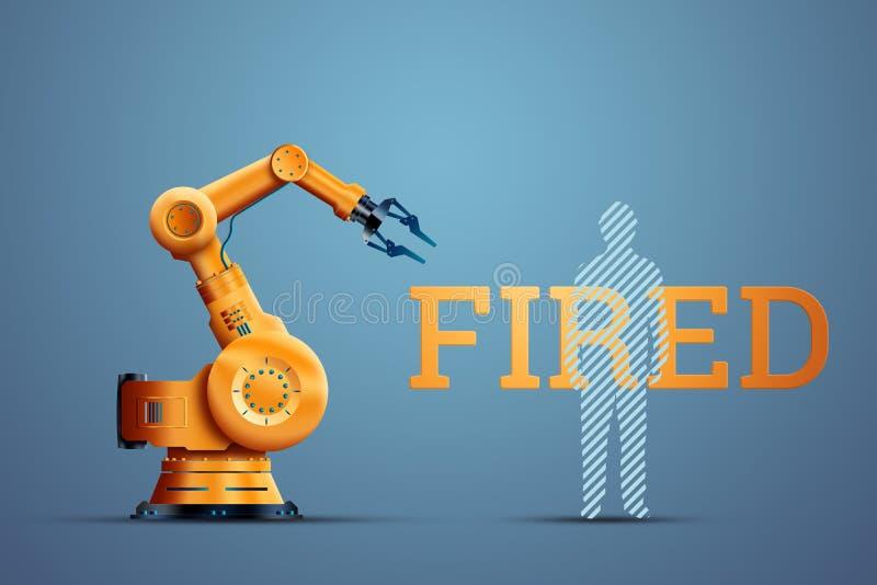 Robotyzacja, manipulator robotów przemysłowych, pomarańczowy i sylwetka zwolnionego pracownika na niebieskim tle Koncepcja ilustracji