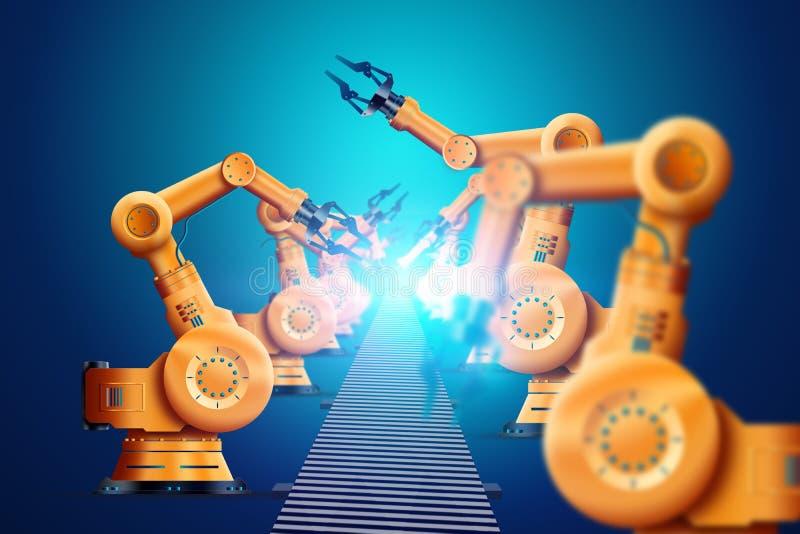 Robotyzacja, manipulator robotów przemysłowych, pomarańczowy, nowoczesny przenośnik automatyczny Koncepcja niedoboru miejsc pracy ilustracja wektor