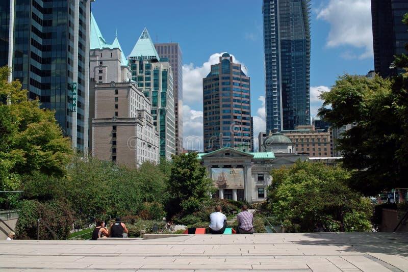 Robson kwadrat, Vancouver BC, Kanada zdjęcie stock