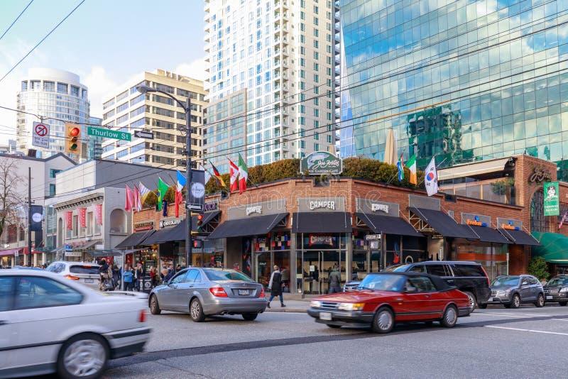 Robson ulica W centrum zakupy okręg w Vancouver BC fotografia royalty free