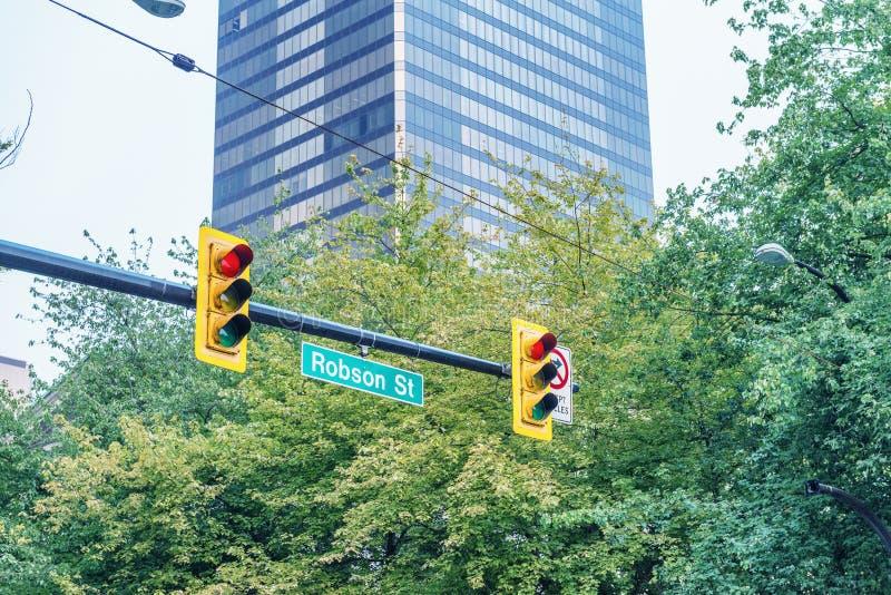 Robson znak uliczny w centrum Vancouver, Kanada obraz royalty free