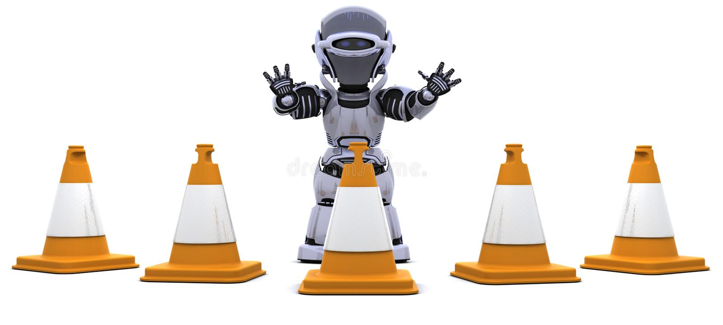 Robusteza con los conos del tráfico stock de ilustración