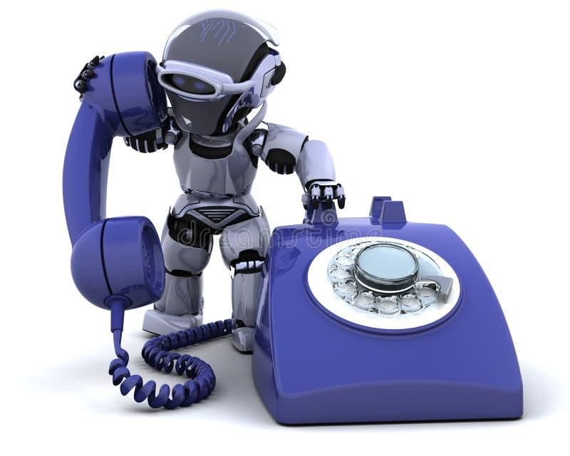 Robusteza con un teléfono tradicional stock de ilustración