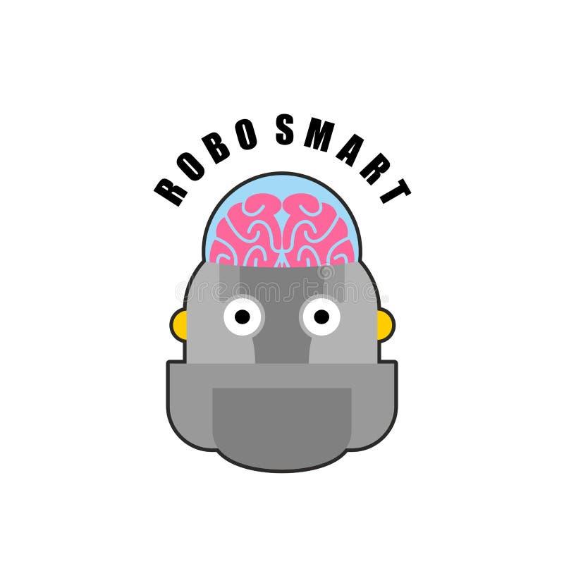 Robusteza elegante Emblema de la biomecánica del cerebro humano Logotipo para adentro ilustración del vector