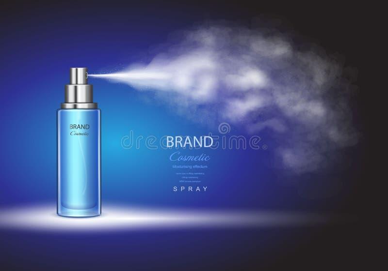 Rocíe la botella, envase de la tinta del hielo en plantilla superior de los anuncios del fondo azul stock de ilustración