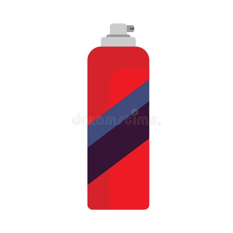 Rocíe la pintura puede equipo rojo del icono del vector del aerosol de la pintada Envase plano del vandalismo de la pared de la c stock de ilustración
