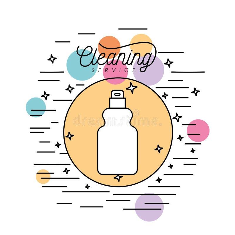 Rocíe la silueta del servicio del fregado de las botellas en marco circular con las burbujas del color y las estrellas y las líne libre illustration