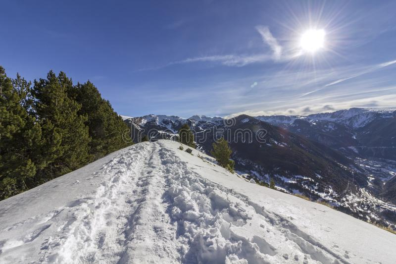 Roc Del Quer sightseeing trekking trail. Andorra. royalty free stock image