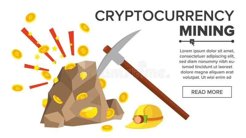 Roca con vector de las monedas de oro Concepto de Bitcoin Cryptocurrency Mina, selección, casco Excavación para conseguir monedas stock de ilustración