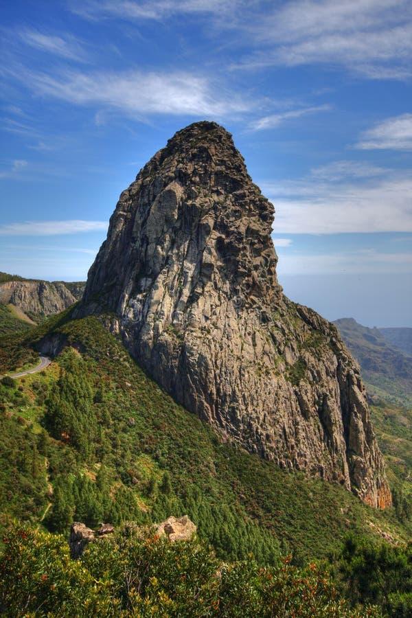 Roca de Agando en el La Gomera foto de archivo