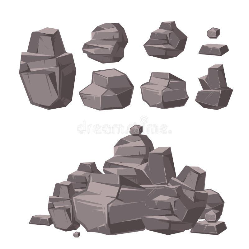 Roca de la historieta 3d, piedras del granito, pila del sistema del vector de los cantos rodados, elementos de la arquitectura pa ilustración del vector