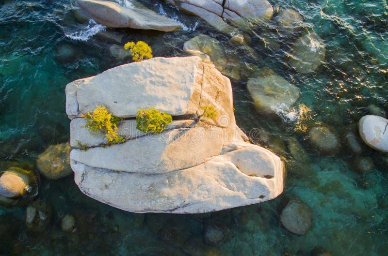 Roca de los bonsais del lago Tahoe imagen de archivo