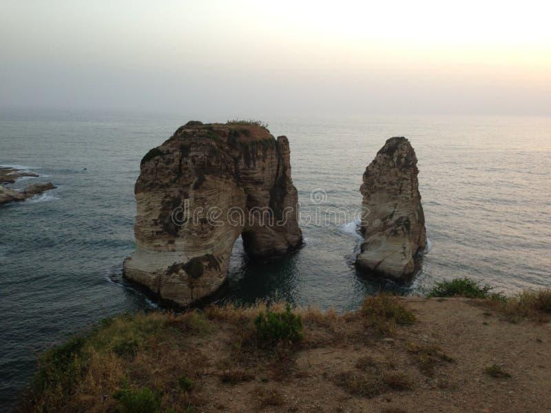 Roca de Raouche fotos de archivo libres de regalías