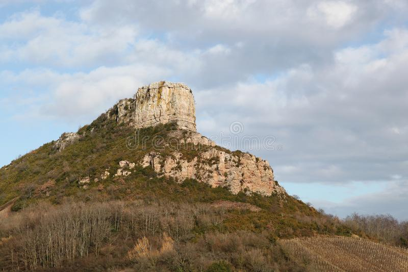 Roca de Solutre en Borgoña fotos de archivo