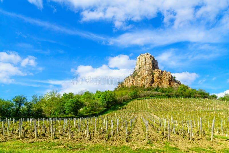 Roca de Solutre La Roche, en Borgoña foto de archivo libre de regalías