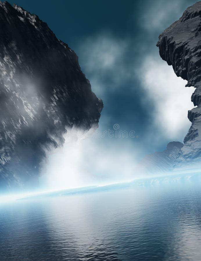 Roca del granito con la niebla del océano ilustración del vector