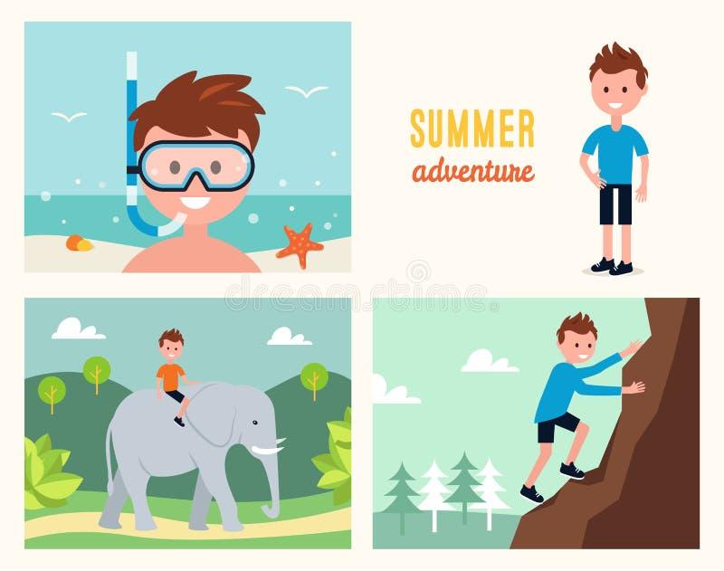 Roca que bucea, que sube del muchacho y elefante que monta Ejemplo del vector de las actividades del verano libre illustration