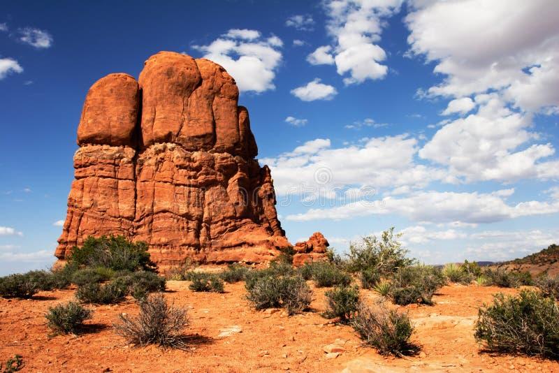 Roca roja de los arcos nacionales. Parque foto de archivo