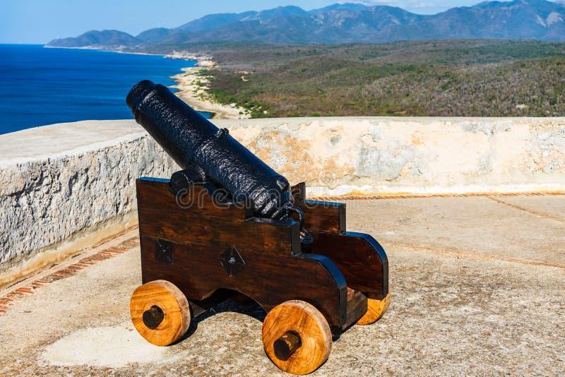 Roca Sans Pedro de La Fortwände und Kanone, Santiago De Cuba, Kuba stockbild