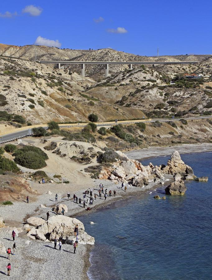 Roca turística famosa del ` s del Aphrodite de la señal imagen de archivo