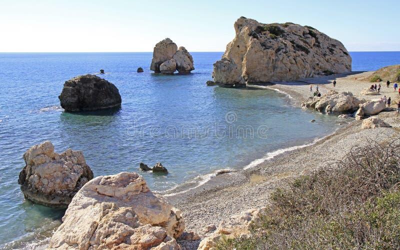Roca turística famosa del ` s del Aphrodite de la señal foto de archivo