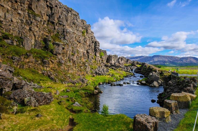 Roca y corriente en el parque nacional de Thingvellir, Islandia fotos de archivo