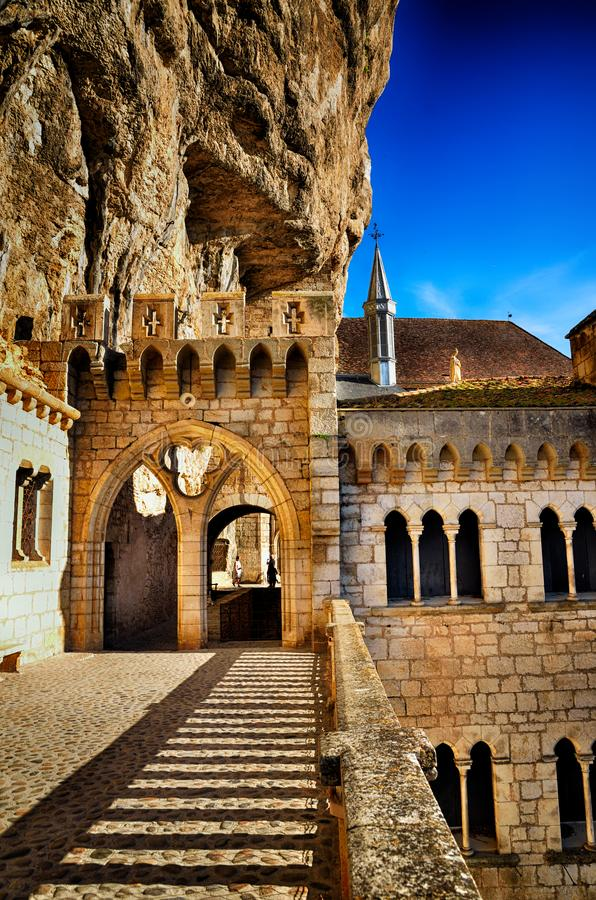 Rocamadour, ένα από το ομορφότερο χωριό στη Γαλλία, θρησκευτικός προορισμός στοκ εικόνα με δικαίωμα ελεύθερης χρήσης