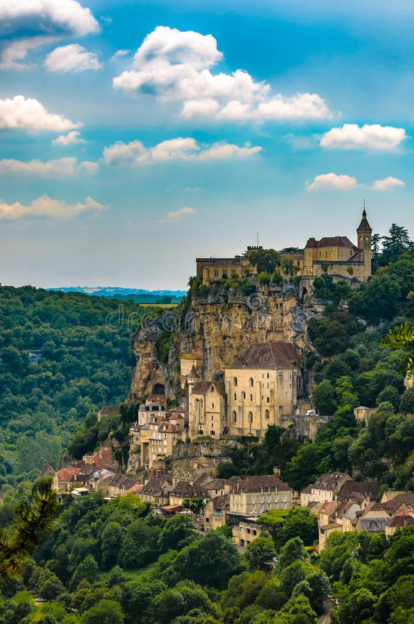 Rocamadour clifftop piękna wioska w centrali Francja obrazy royalty free