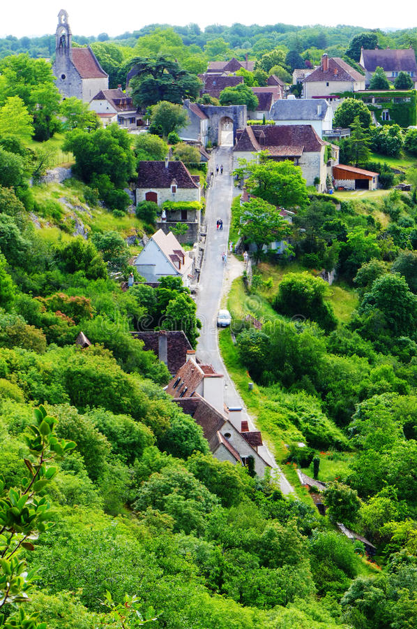 Rocamadour, Francia - vista aerea immagine stock libera da diritti