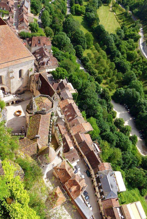 Rocamadour, Frankrijk - luchtmening stock foto