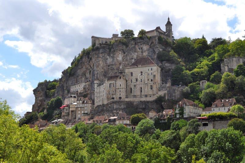 Rocamadour sikt, Frankrike arkivbilder