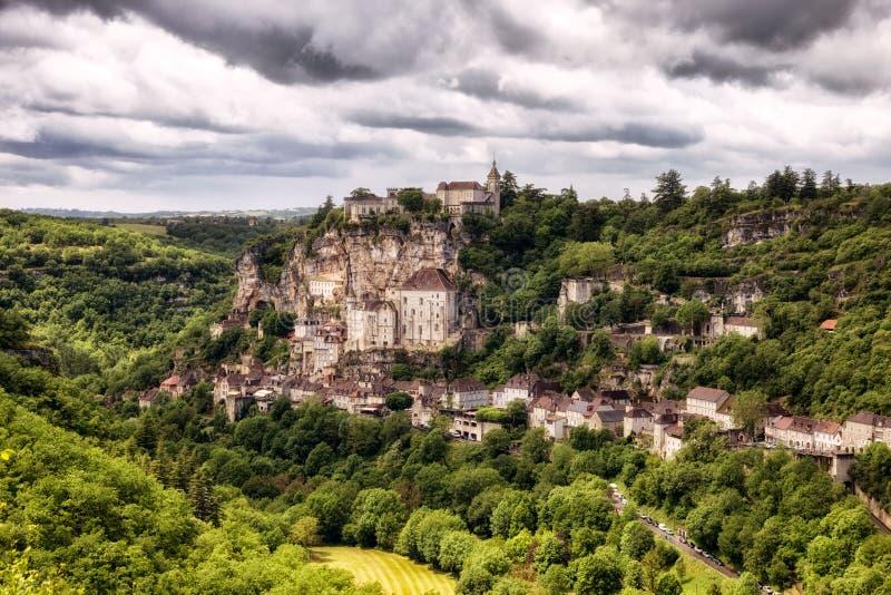 Rocamadour by sydvästliga Frankrike royaltyfria bilder