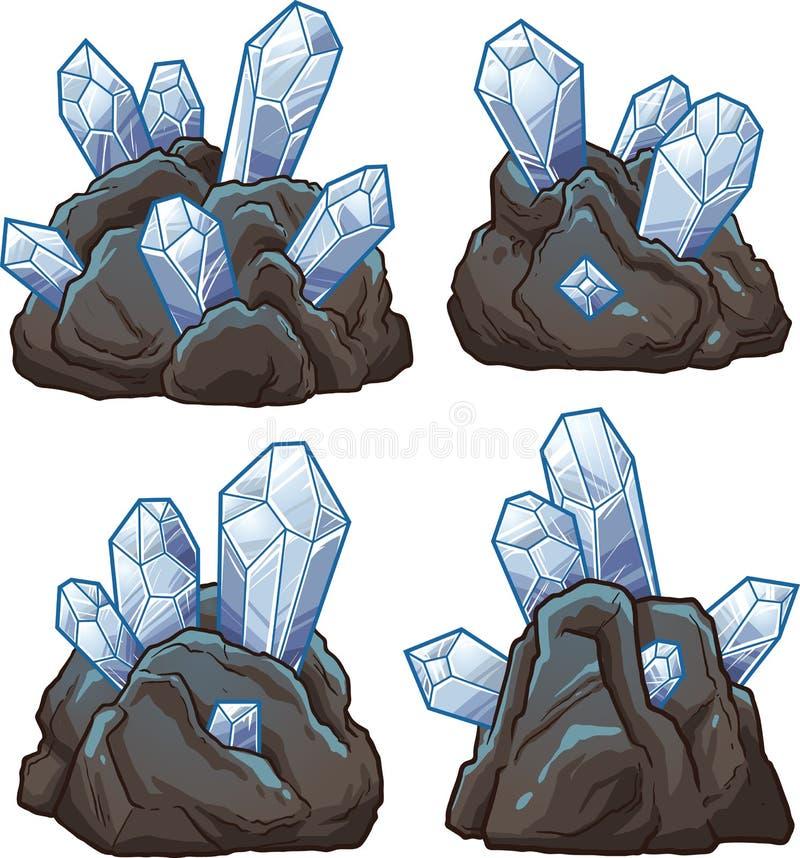 Rocas con los cristales stock de ilustración