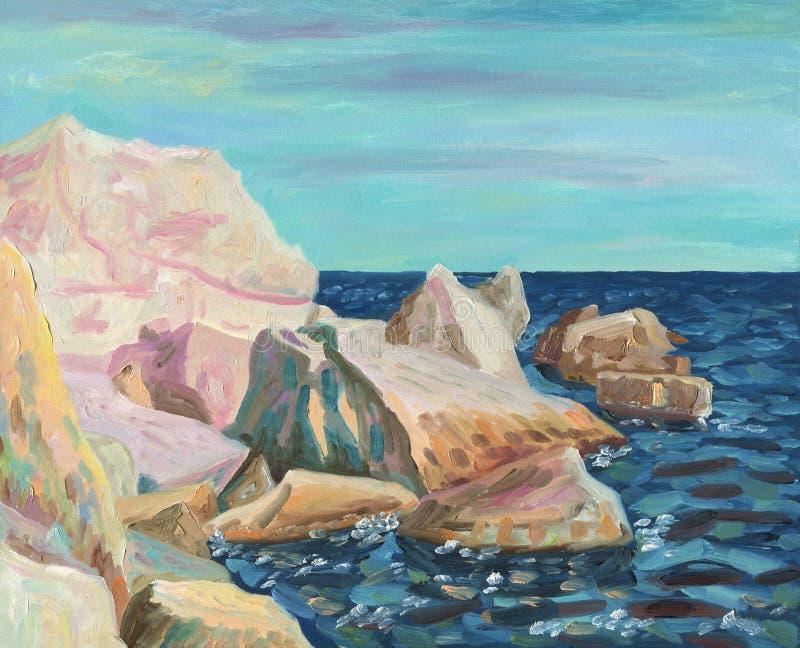Rocas costeras iluminadas por el sol libre illustration