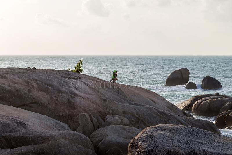Rocas de la abuela y del abuelo - Samui en la playa Thailan de Lamai fotos de archivo