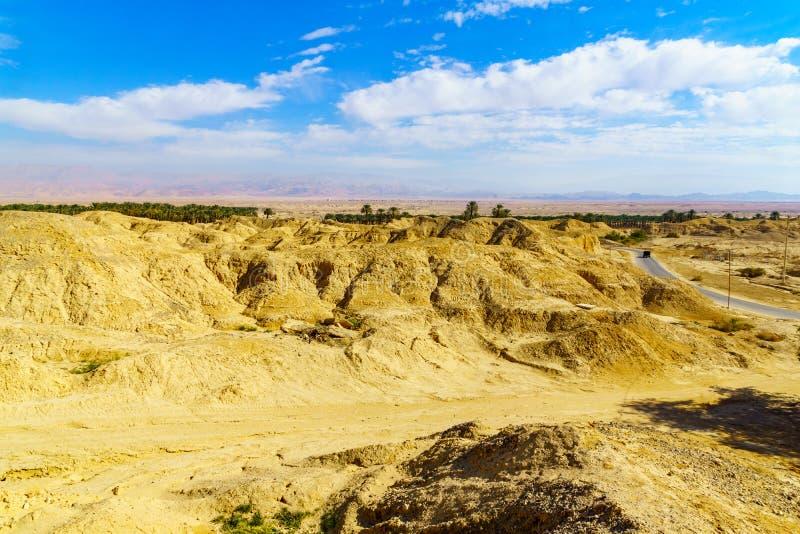 Rocas de la marga de Lissan y montañas de Edom, el camino de la paz de Arava foto de archivo