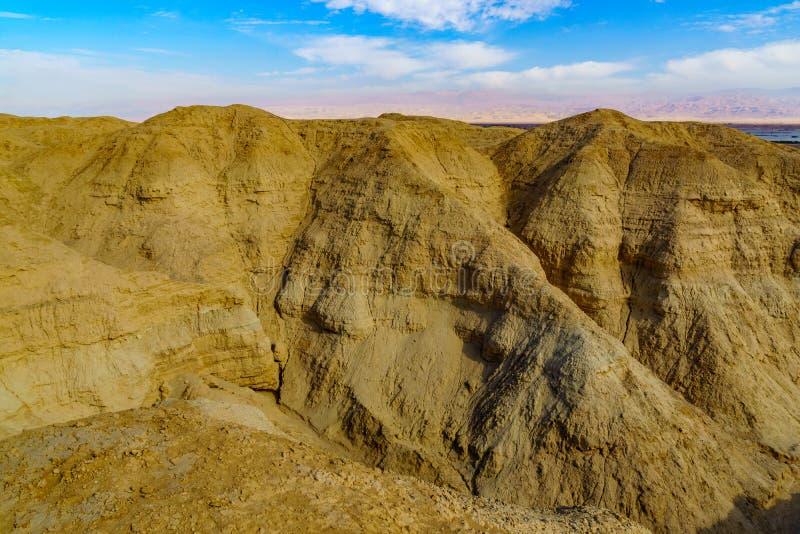 Rocas de la marga de Lissan y monta?as de Edom, el camino de la paz de Arava imagen de archivo libre de regalías