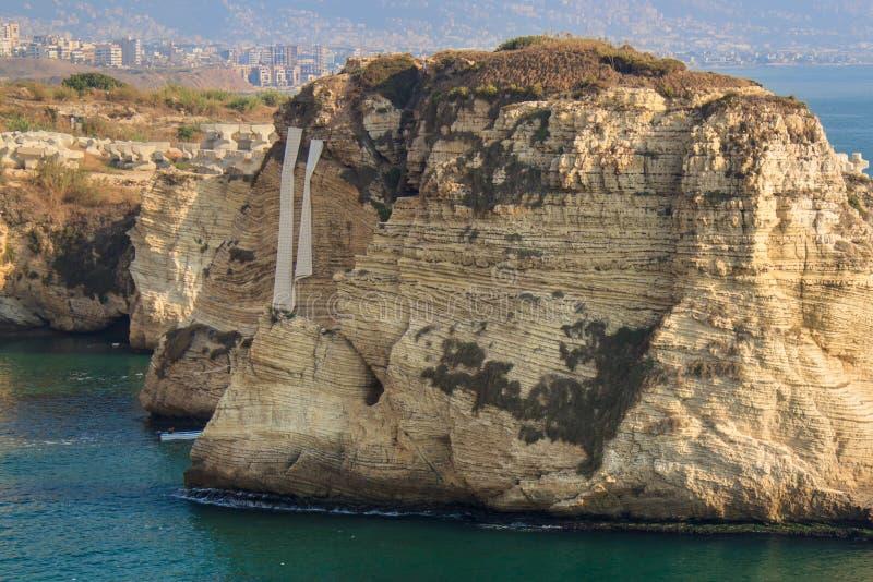 Rocas de la paloma en el distrito de Raouche, Beirut fotos de archivo libres de regalías